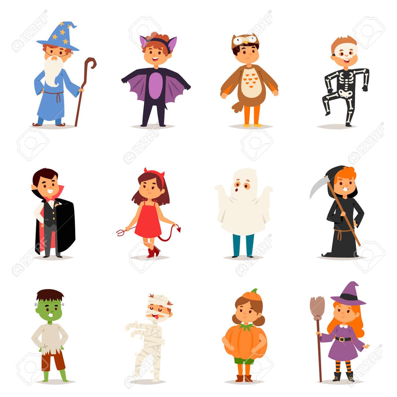 Cute kids wearing Halloween party costumes vector. - 88108349