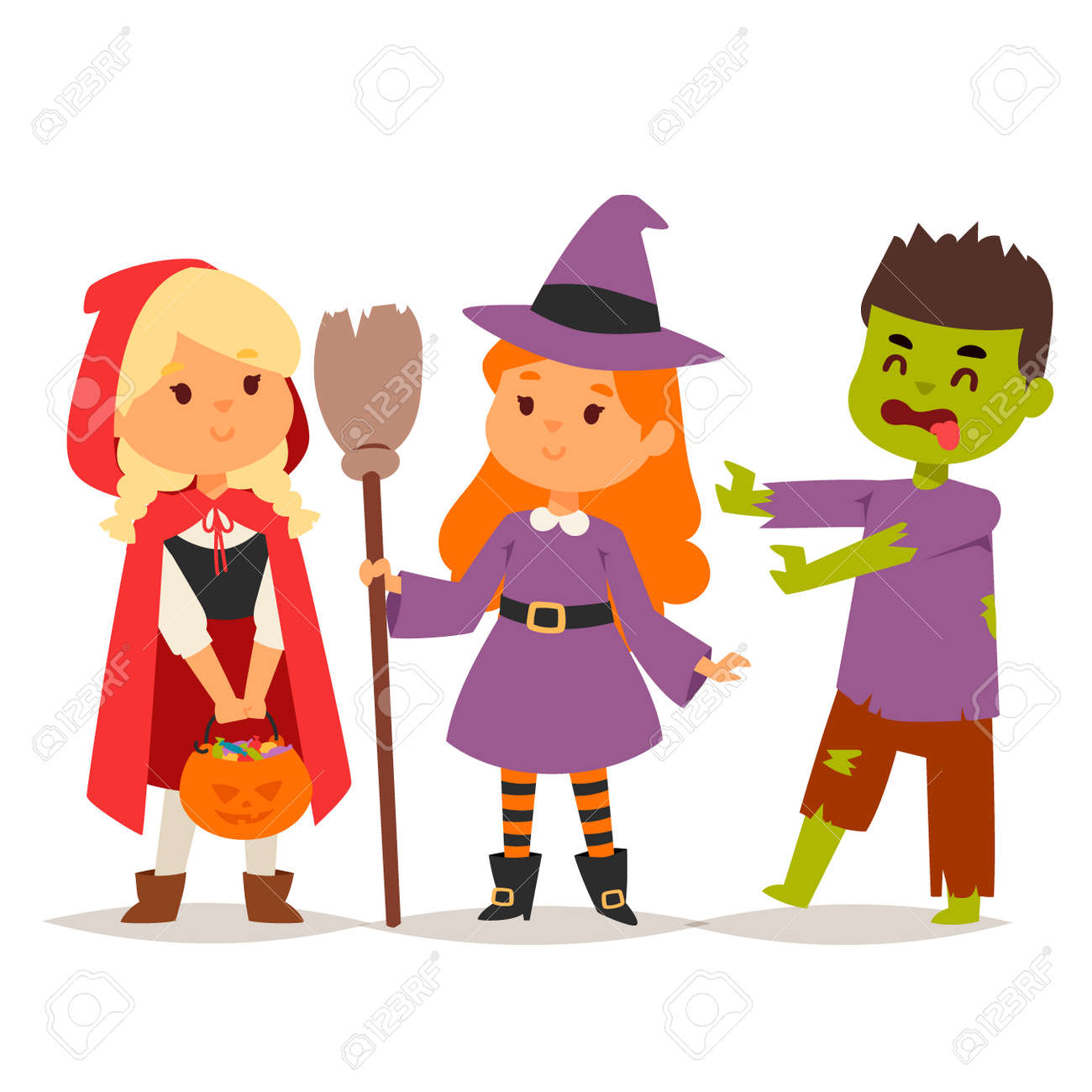 Cute Kids Wearing Halloween Costumes Vector Little People Isolated