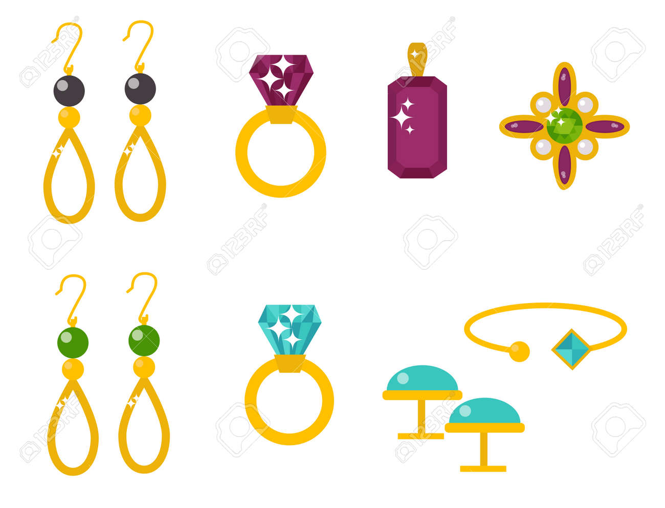 Vector Jewelry Items Gold Elegance Gemstones Precious Accessories ...