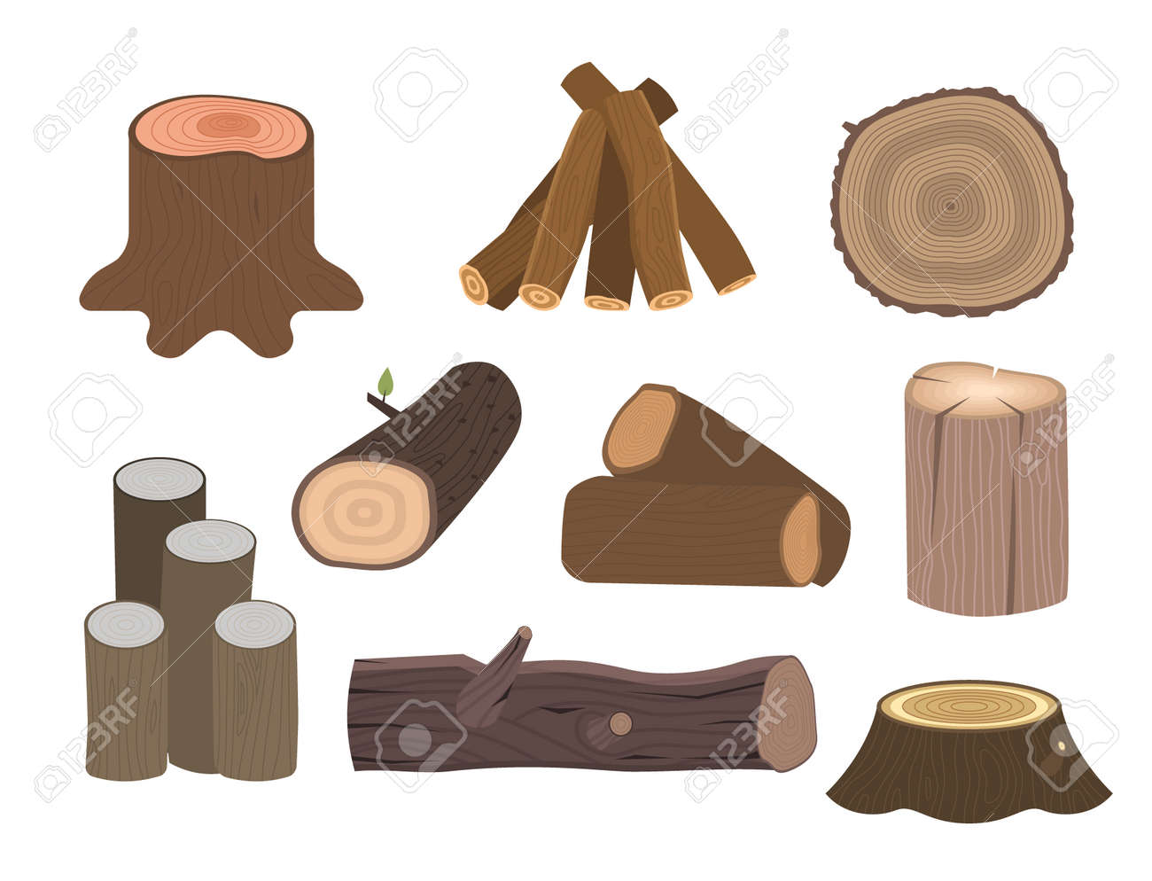 Stacked wood pine timber for construction building cut stump lumber tree bark materials vector illustration. - 90743841