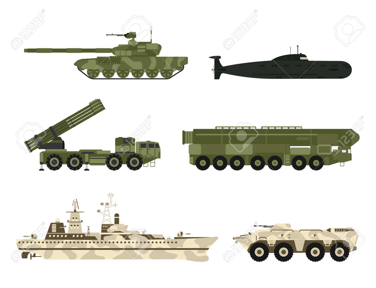 Military army transport technic vector war tanks industry technic armor system armored army personnel camouflage carriers weapon illustration. - 90744067