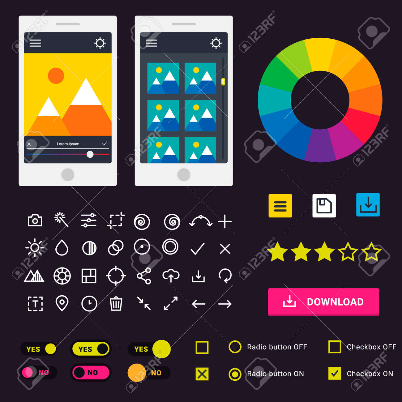 user interface vector phone laptop tab device mobile app indicators
