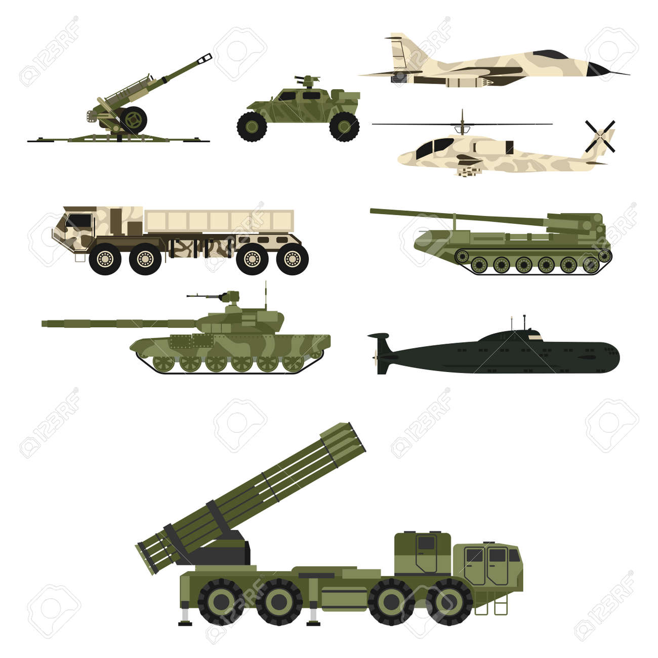Military transport technic army war tanks industry technic armor system armored personnel army camouflage carriers weapon vector illustration. Fighting armed forces transportation. - 91651164