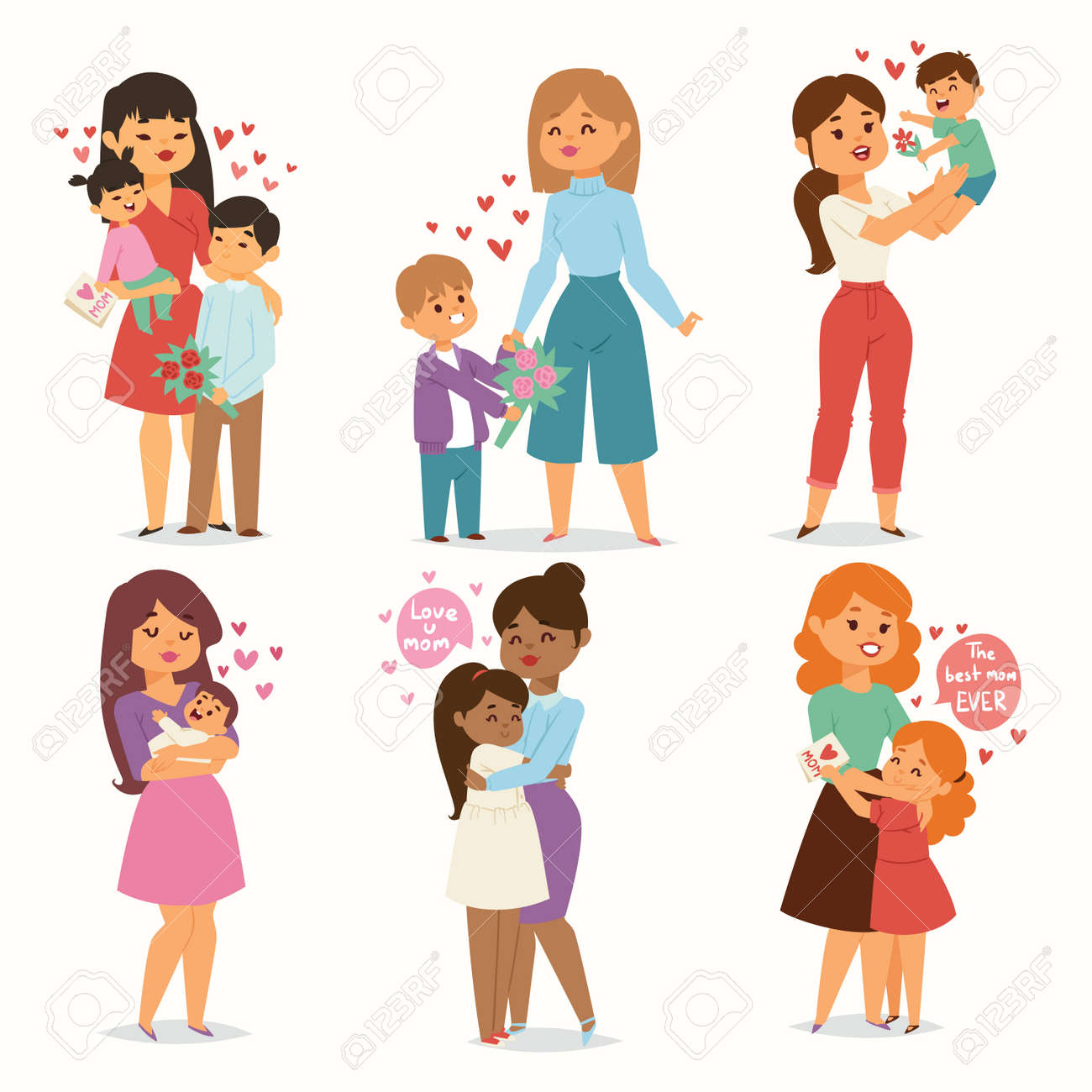 Mother and children kids with flower bouquet love heart couples. Mothers, Valentine or Womans 8 march day. Spring or summer family holiday beautiful female character Mothers Day celebration present - 95299092