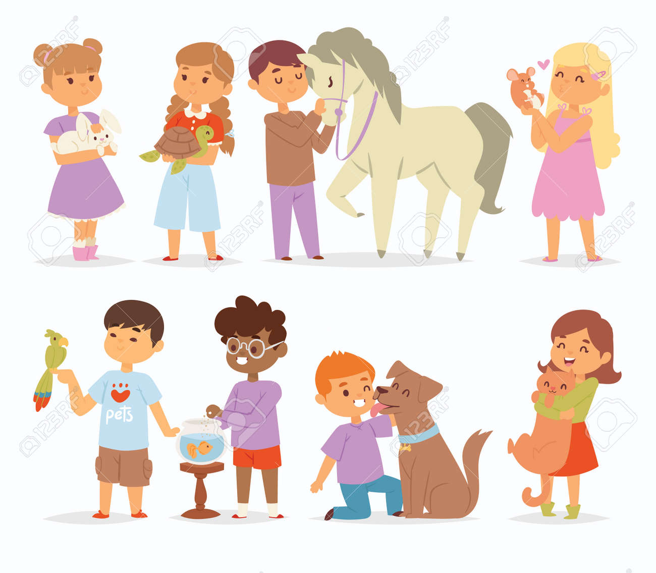 Toddler Cartoon Vector Kids Characters Petting Little Pet In - Toddler-cartoon-characters