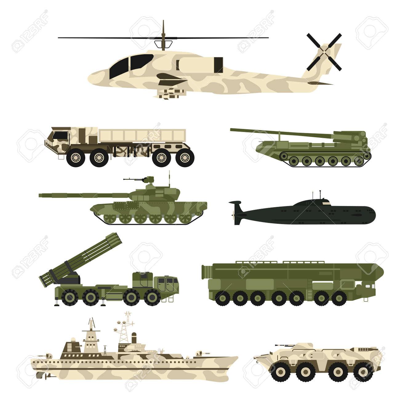 Set of war tanks graphic design illustration. - 95502915