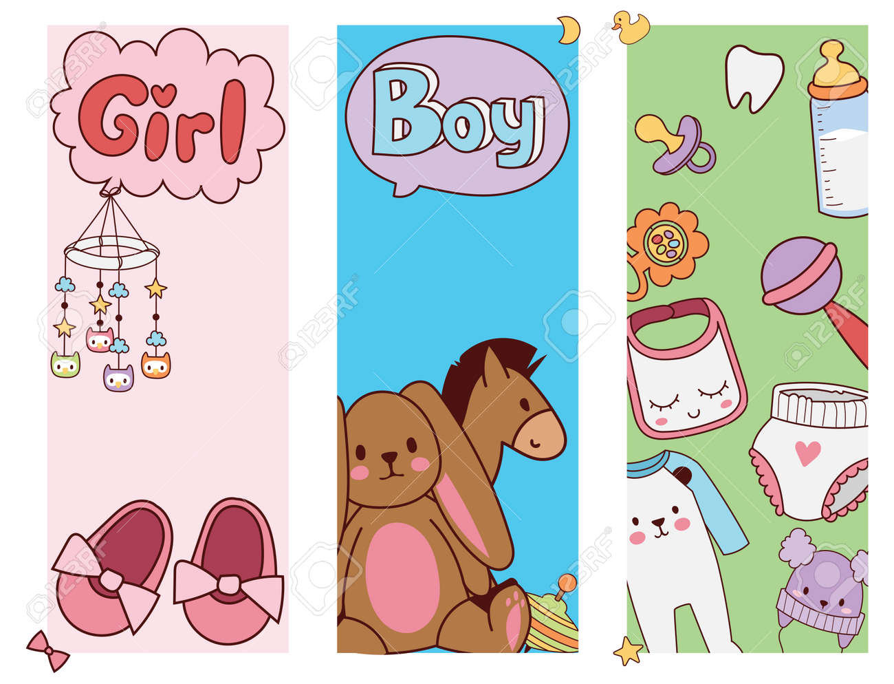 Baby Toys Banner Cartoon Toy Shop Design Royalty Free Cliparts