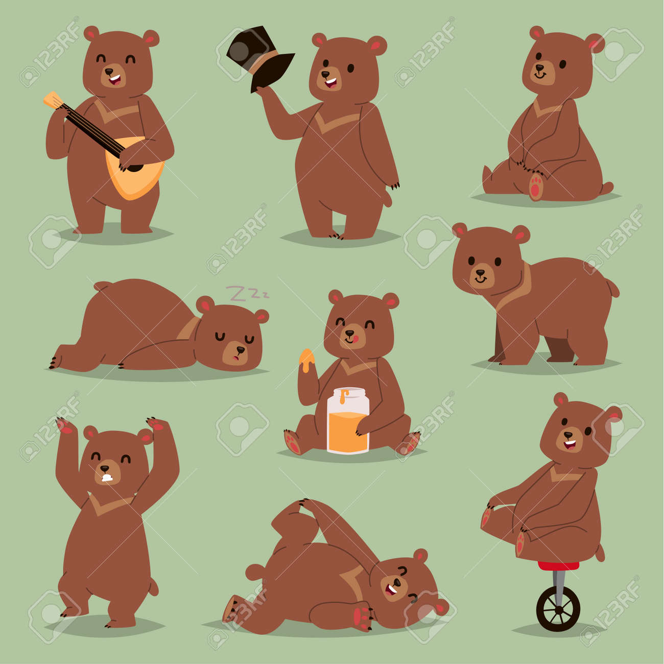 Cute cartoon vector bear emotions brown character. Happy smiling bear drawing mammal teddy smile. Cheerful mascot cartoon bear grizzly, young, baby animal zoo with honey, circus bike wheel. - 96820699