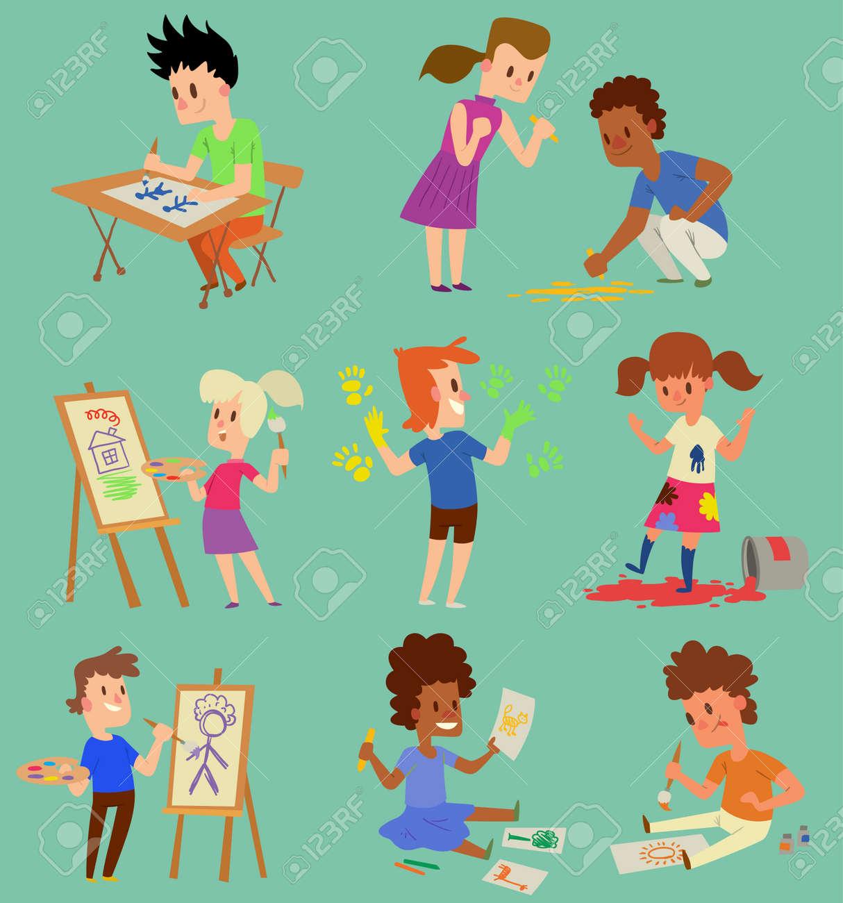 Boy and girl artist vector creative play games kids children...