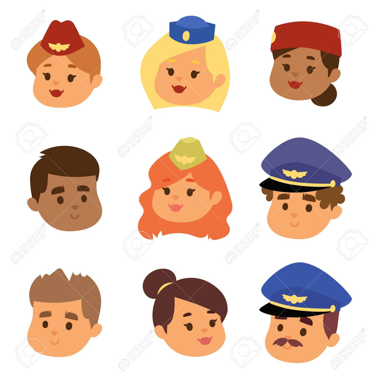 Pilots and stewardess vector head illustration. - 97797966