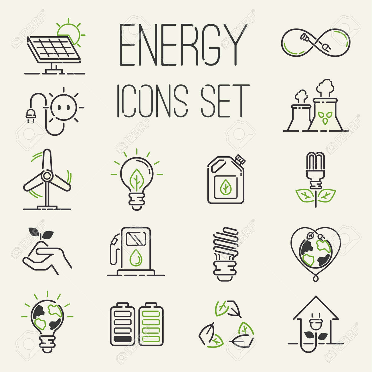 Vector green eco energy icons set energy icons power set battery oil environment nature. Nuclear house atom renewable energy icons. Light bulb electricity water nature eco renewable industry - 98177231