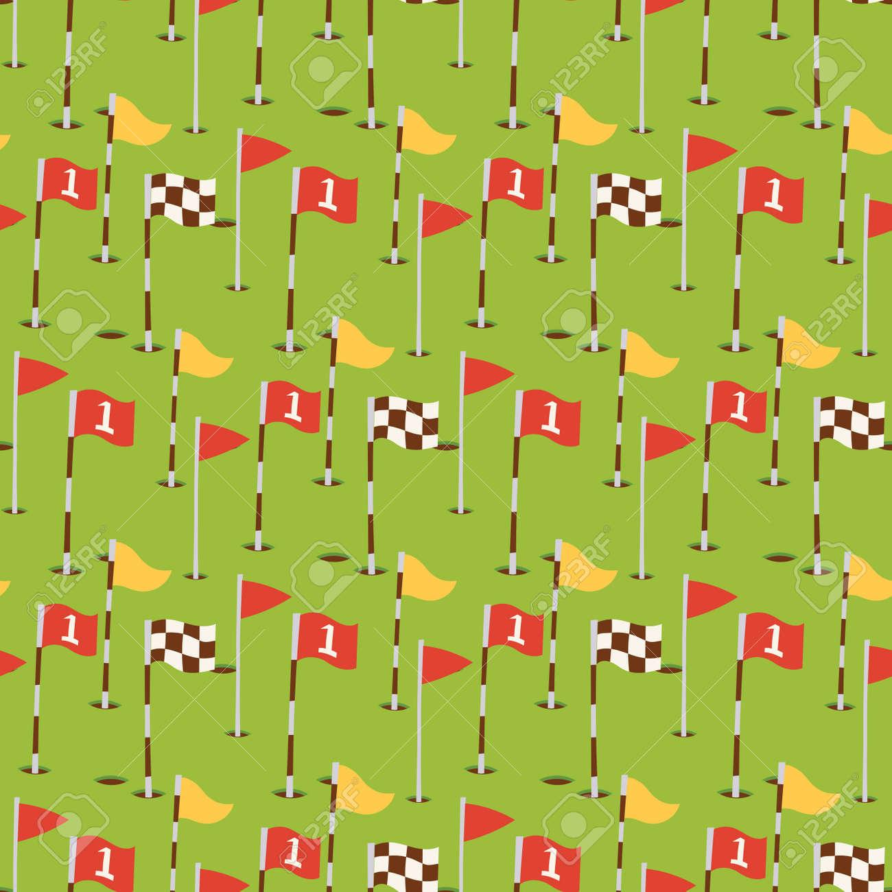 Golf field flags hobby equipment cart player golfing sport symbol