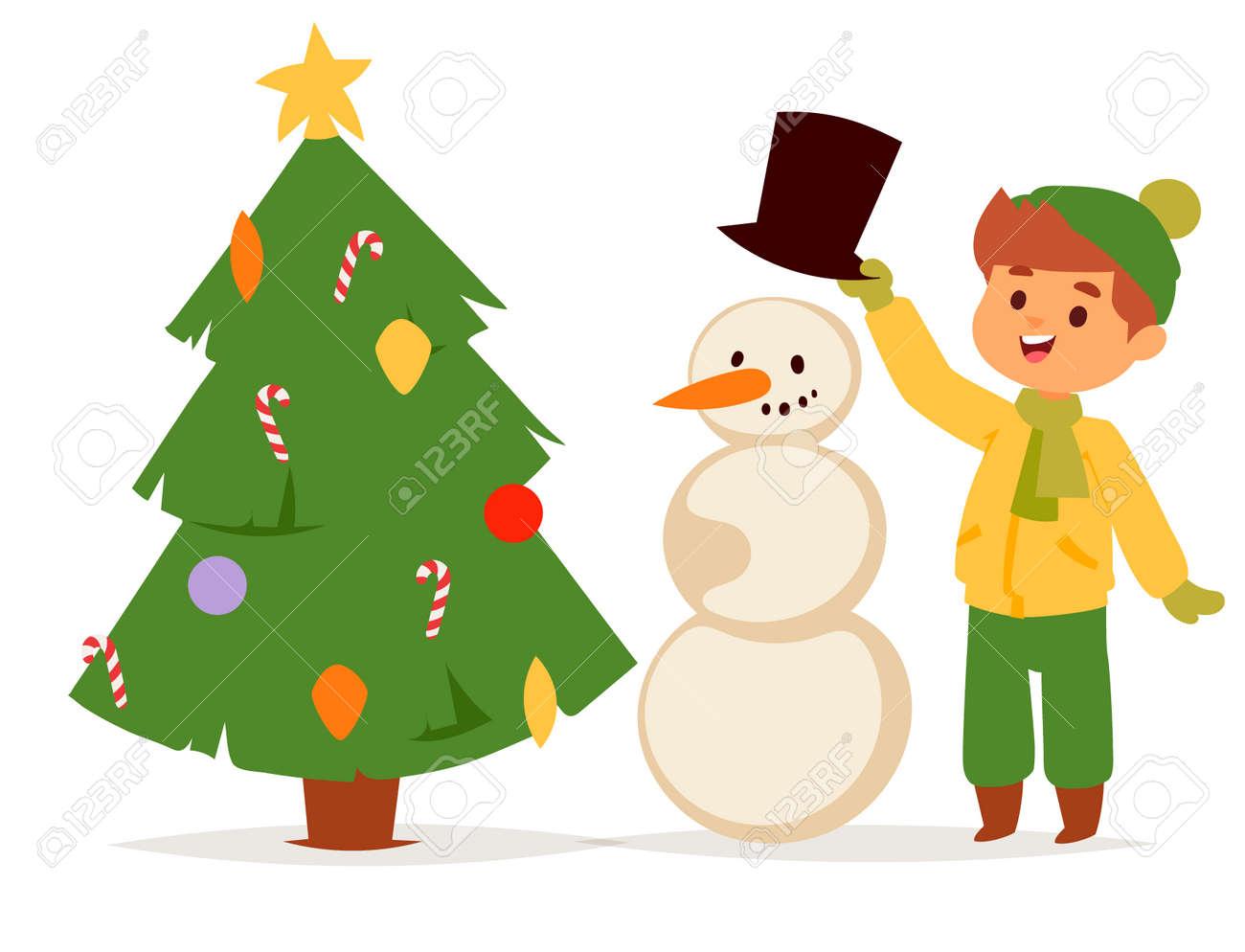 christmas kids vector character playing winter games winter children holidays christmas tree cartoon new year xmas
