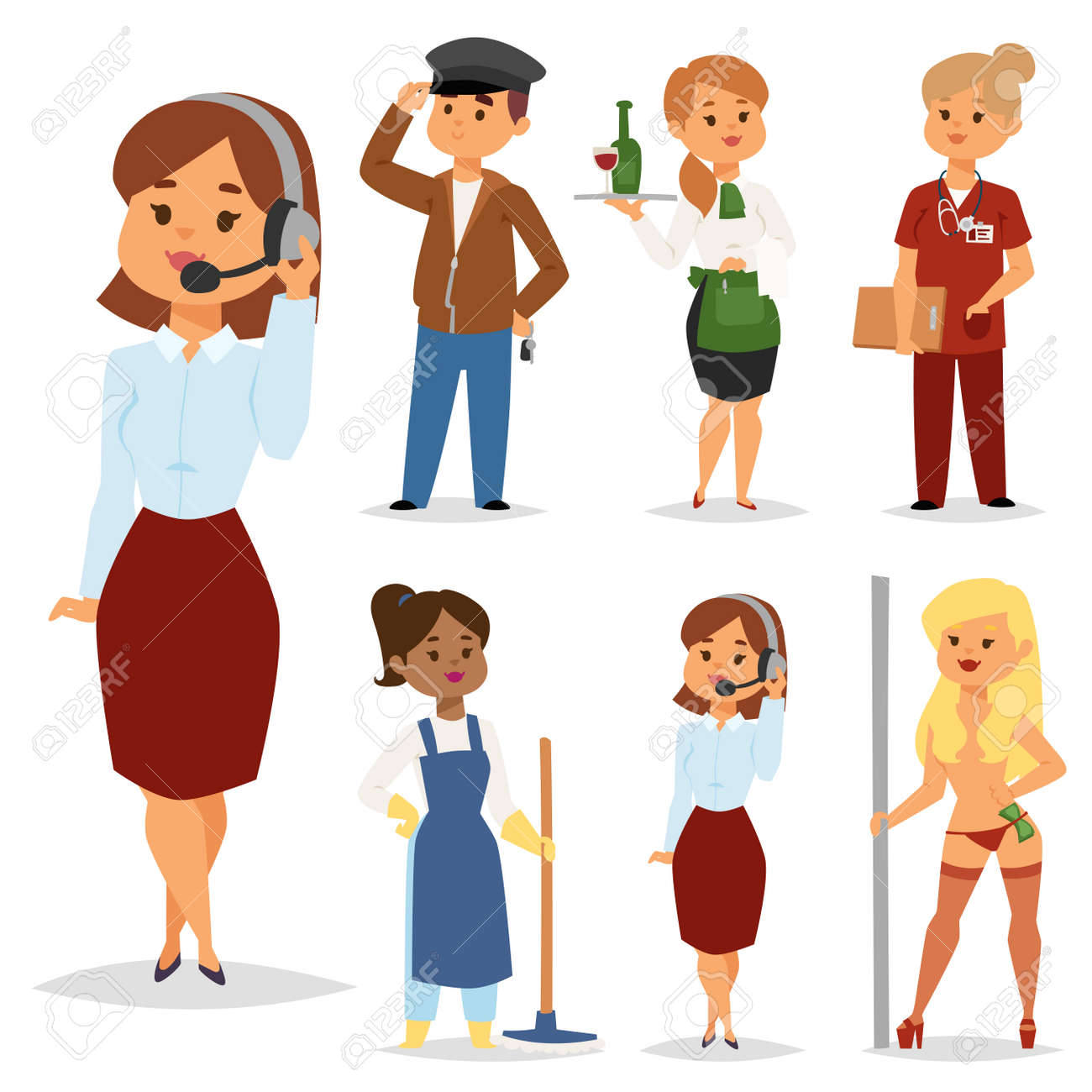 people part time job professions vector set characters temporary