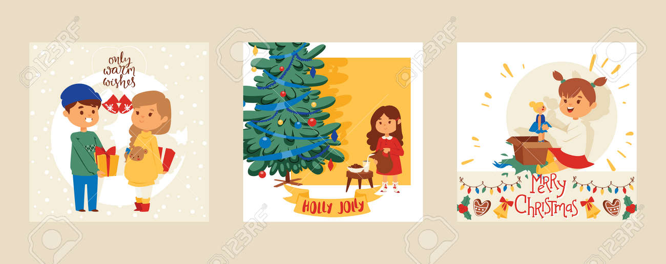 Christmas 2019 Happy New Year Greeting Card Vector Boy And Girl