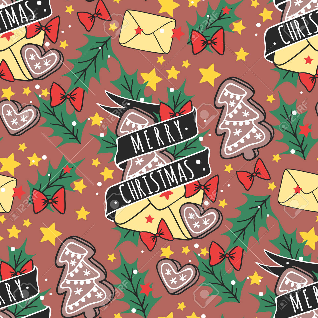Christmas vector seamless pattern New Year hand drawn card design..