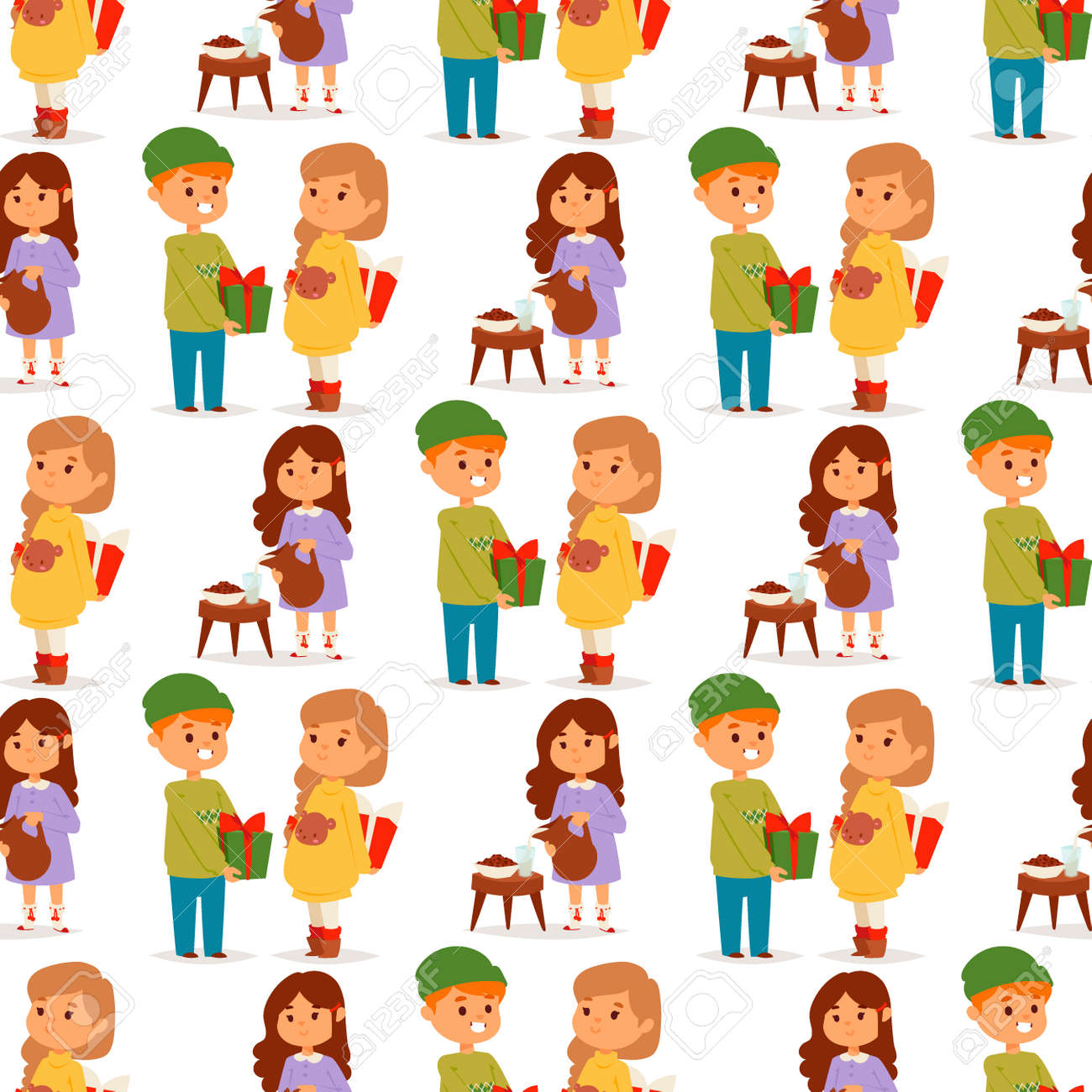 Christmas Kids Vector Character Playing Winter Games Winter Children ...
