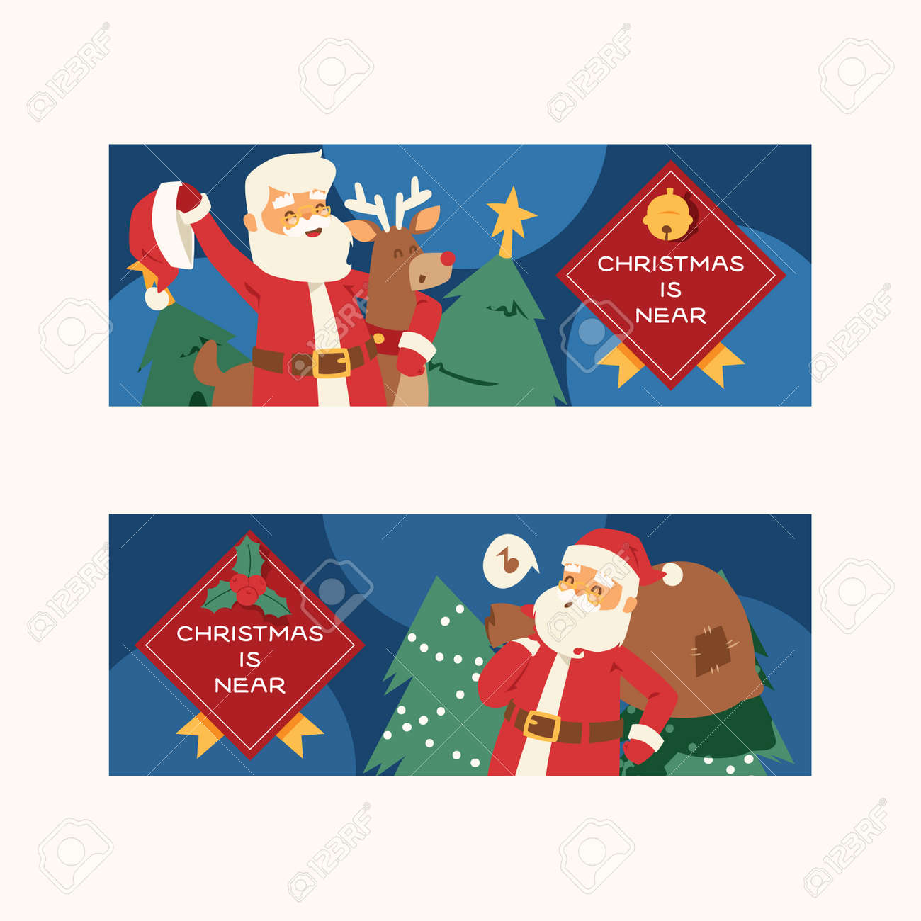 christmas 2019 happy new year greeting card santa claus vector background banner holidays winter xmas cartoon