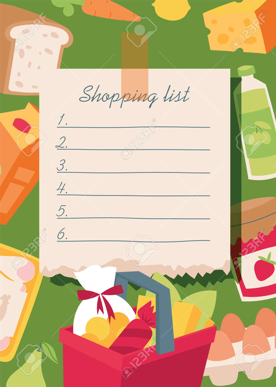 Shopping list vector illustration. Checklist food planning for market, everyday notebook with vegetables, basket, diary products, bread, juice, sausage, jam, egs, carrot milk cheese lemon - 126854323