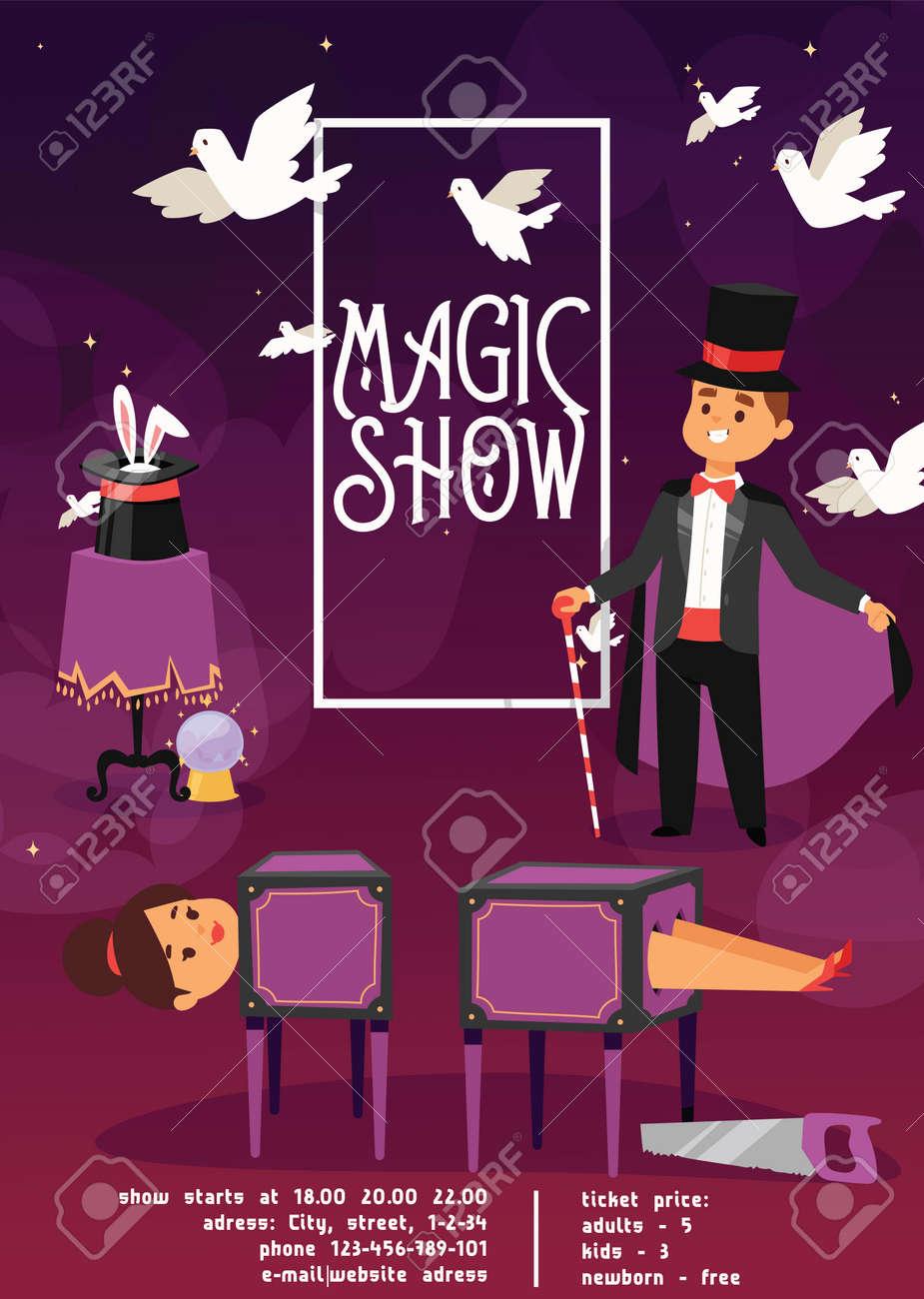 Magician vector illusionist show magic man illusion or magical