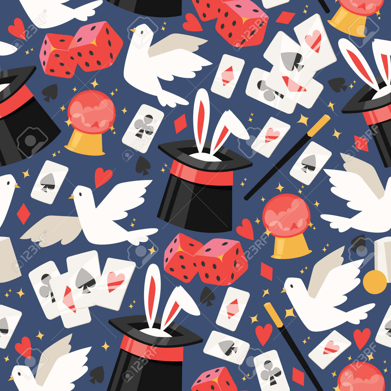 Magician vector seamless pattern illusionist show magic illusion playing cards and magical illusionism on backdrop and cartoon show performance with bunny dove background set illustration - 117746393