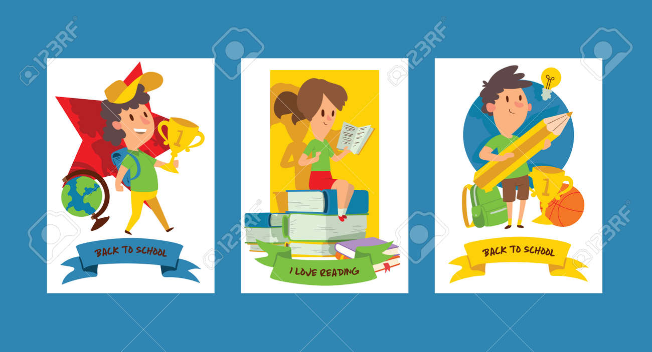School supplies vector boy girl character kids education schooling accessory for schoolchilds backdrop children studying in classroom illustration set of educational stationery background banner - 117746445