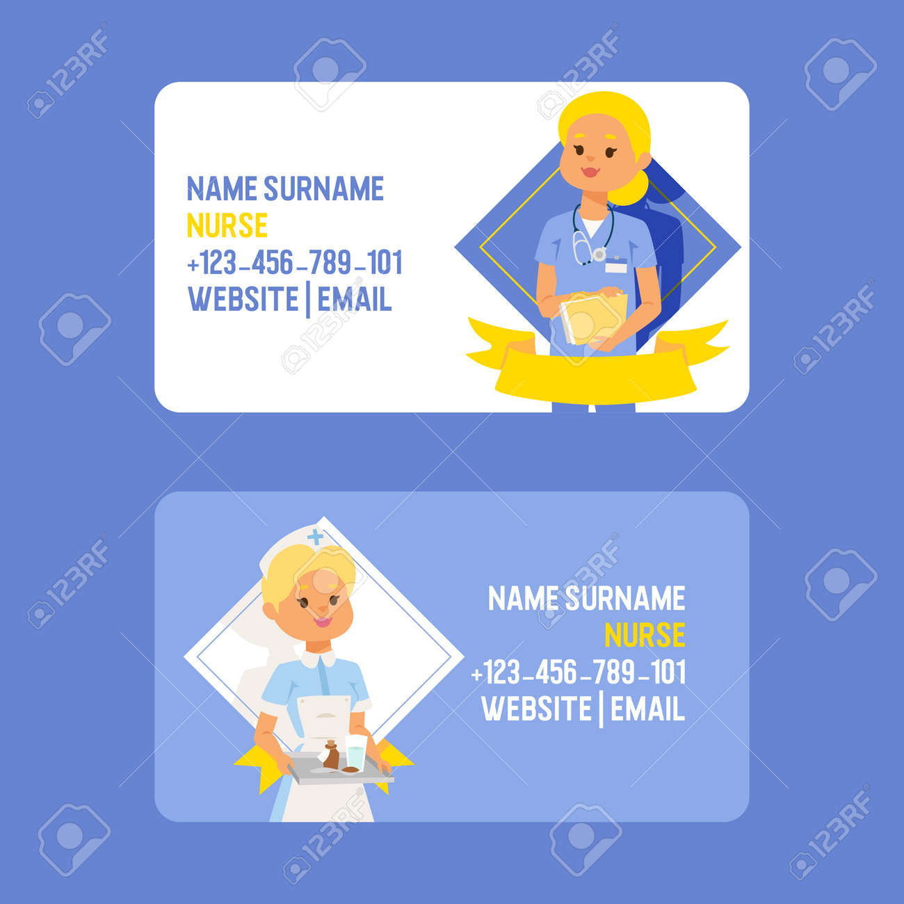 Doctor Vector Business Card Doctoral Woman Character Professional