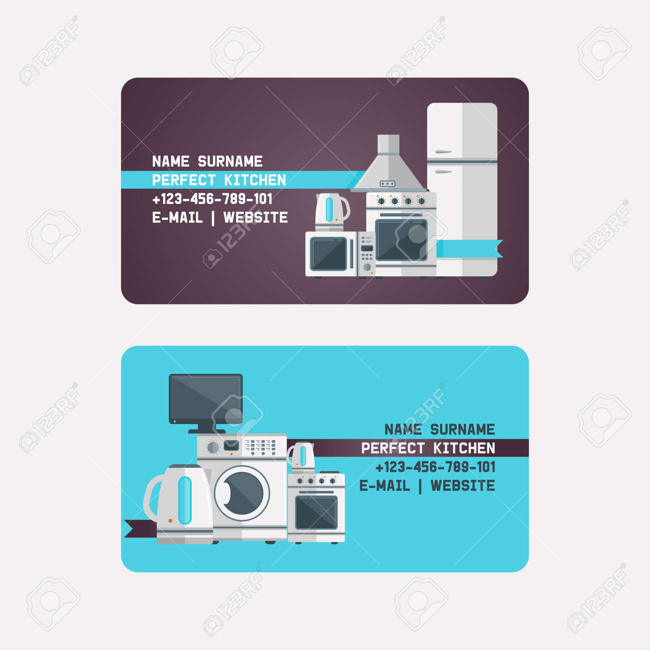 Household Appliances Electronic Business Card Vector Kitchen