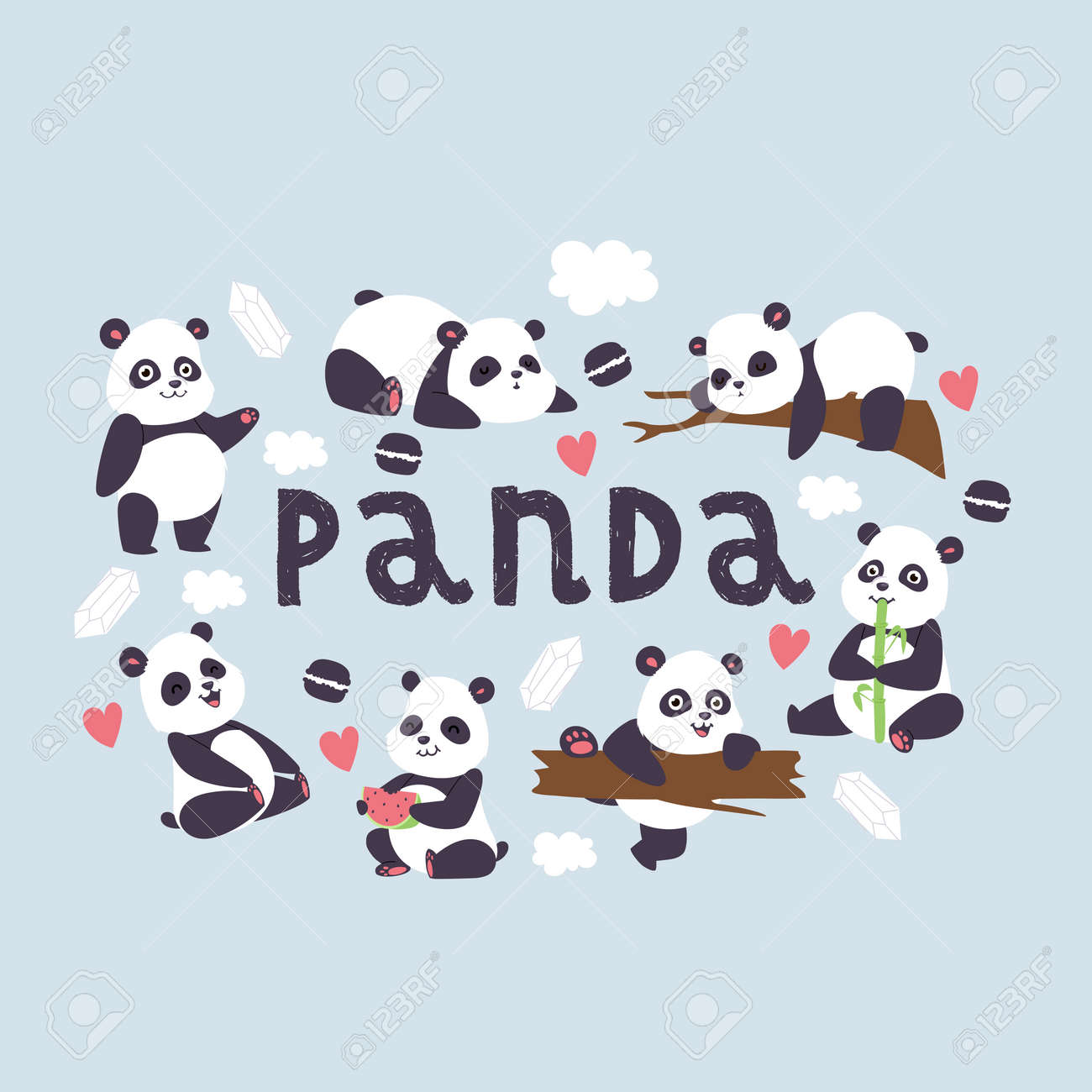 Panda Vector Bearcat Chinese Bear With Bamboo In Love Playing Royalty Free Cliparts Vectors And Stock Illustration Image 123109557
