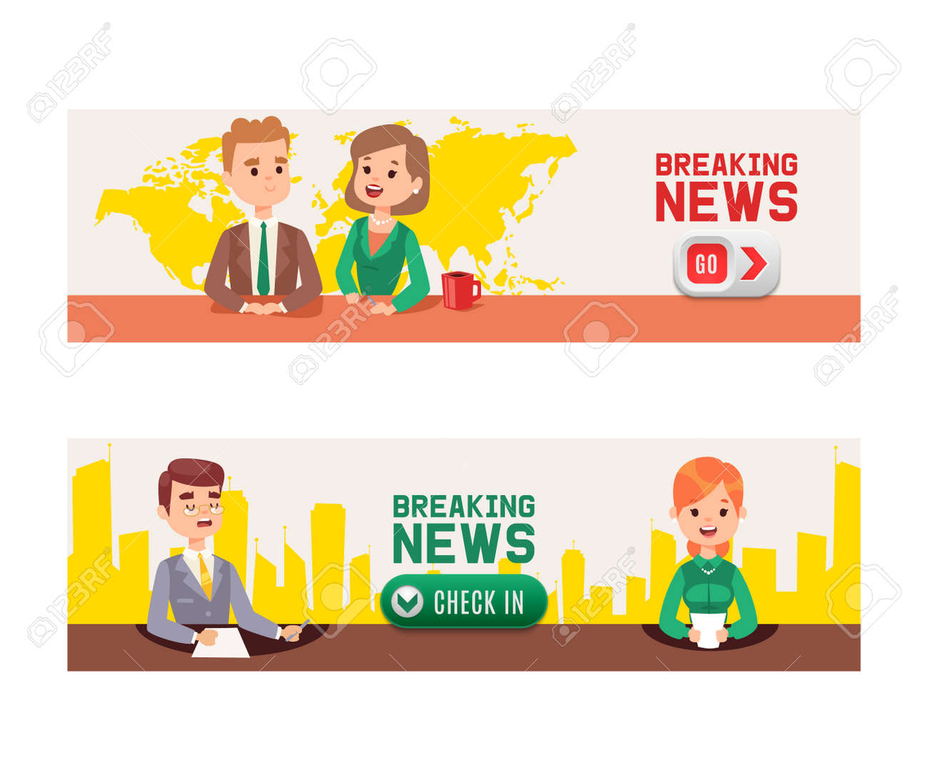 Breaking News On Television Set Of Banners Vector