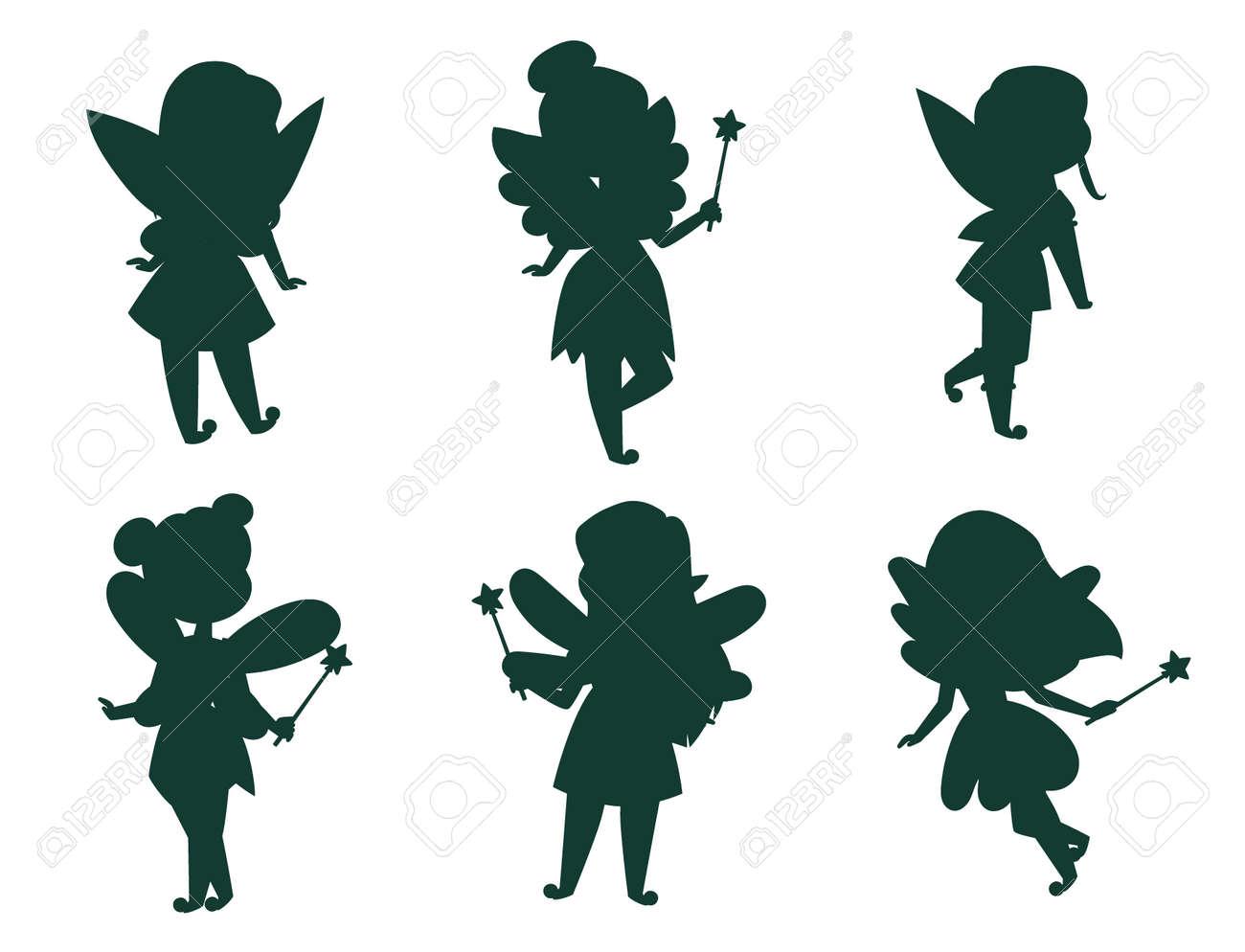 Fairies princess silhouette fairy girl vector character cute beautiful style cartoon little fairyland fashion costume magic fantasy dress fairytale crown kid. Happy sweet fairy teenage with wings. - 128168653
