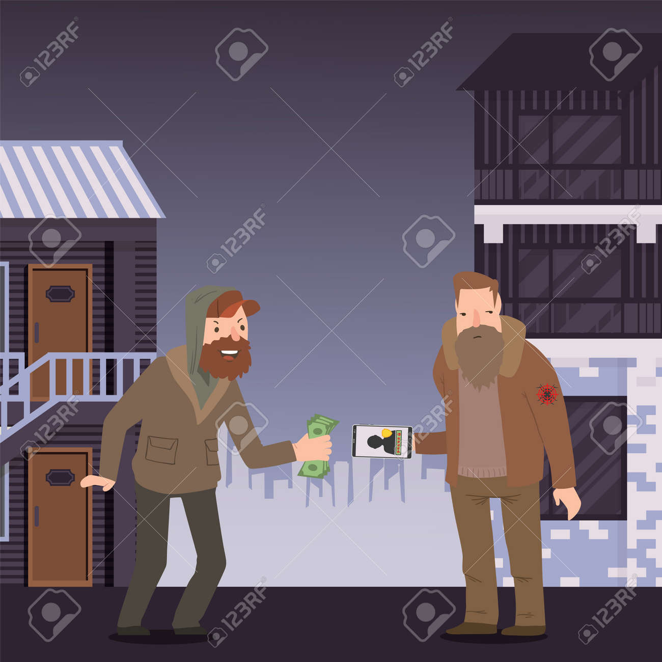 Cyber protection, character male sale personal data, hacker attack mobile phone, flat vector illustration. Unsafe network, internet, save private information. Design banner web security, - 143624760