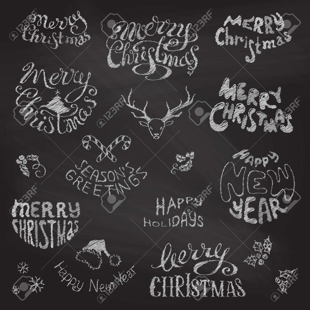 merry christmas and happy new year lettering chalk hand drawn