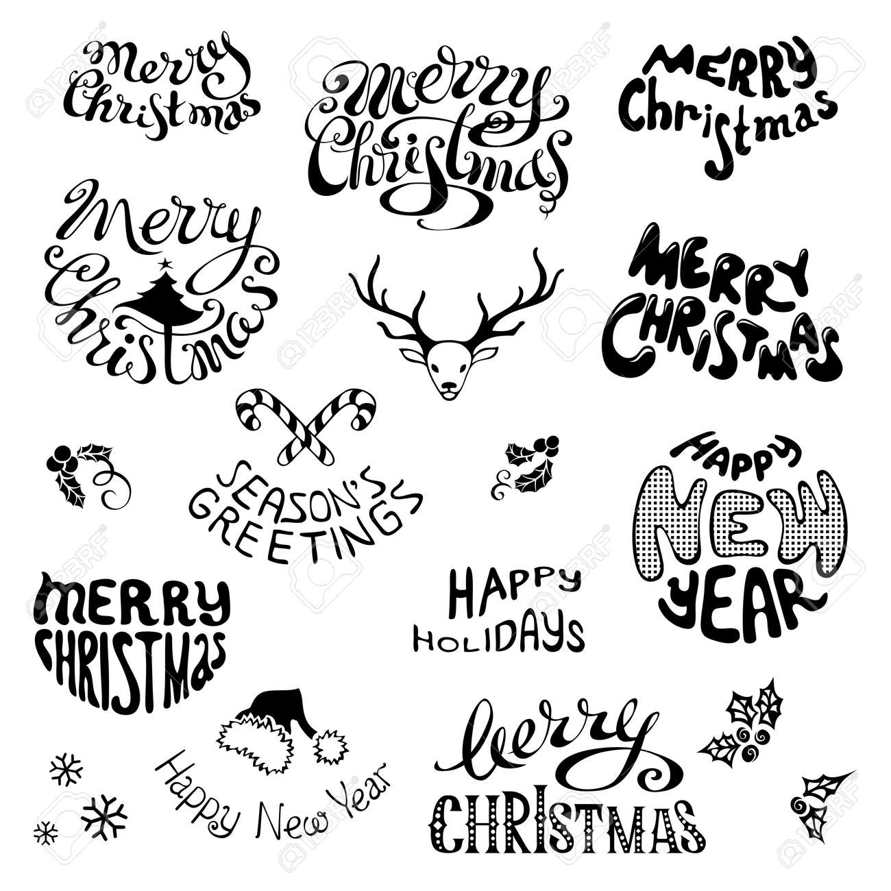 merry christmas and happy new year lettering black hand drawn design elements isolated on