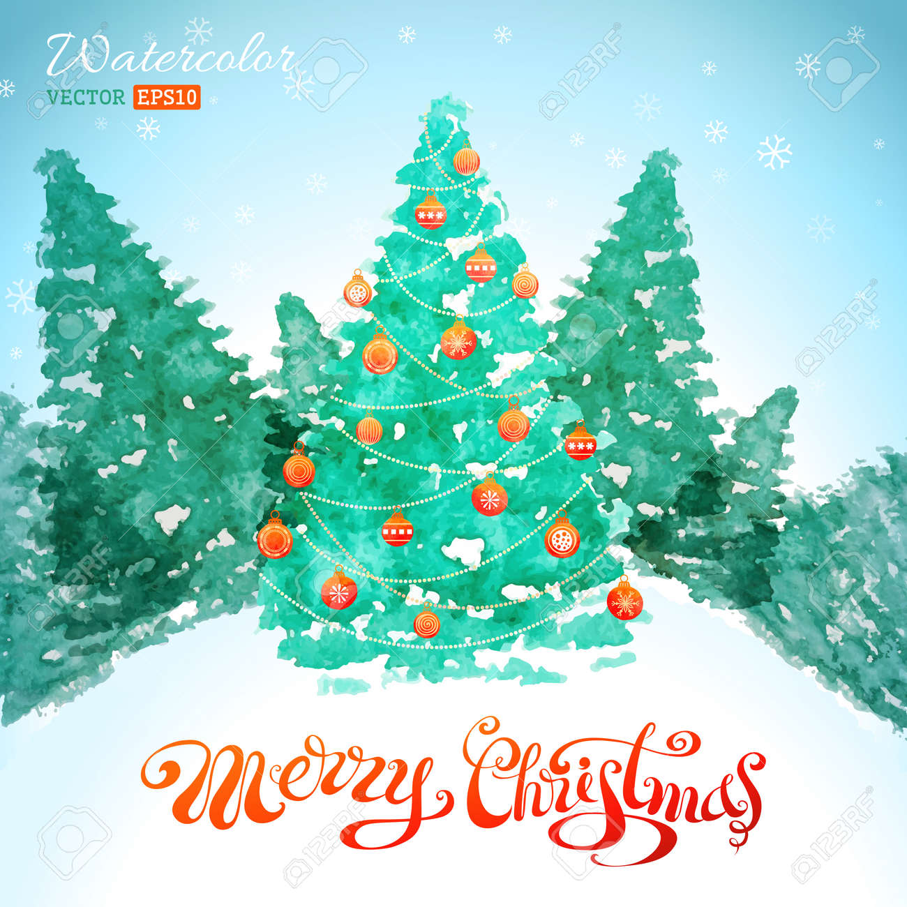 冬の風景のクリスマス ツリー手書きのテキストです