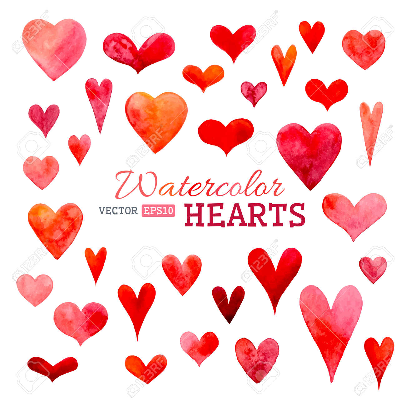 Hand-drawn Various Hearts Isolated On White Background. Wedding ...