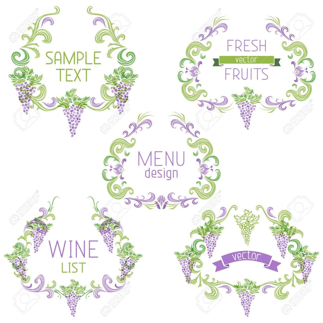 Decorative Elements With Text Isolated On White Background Menu – Free Wine List Template