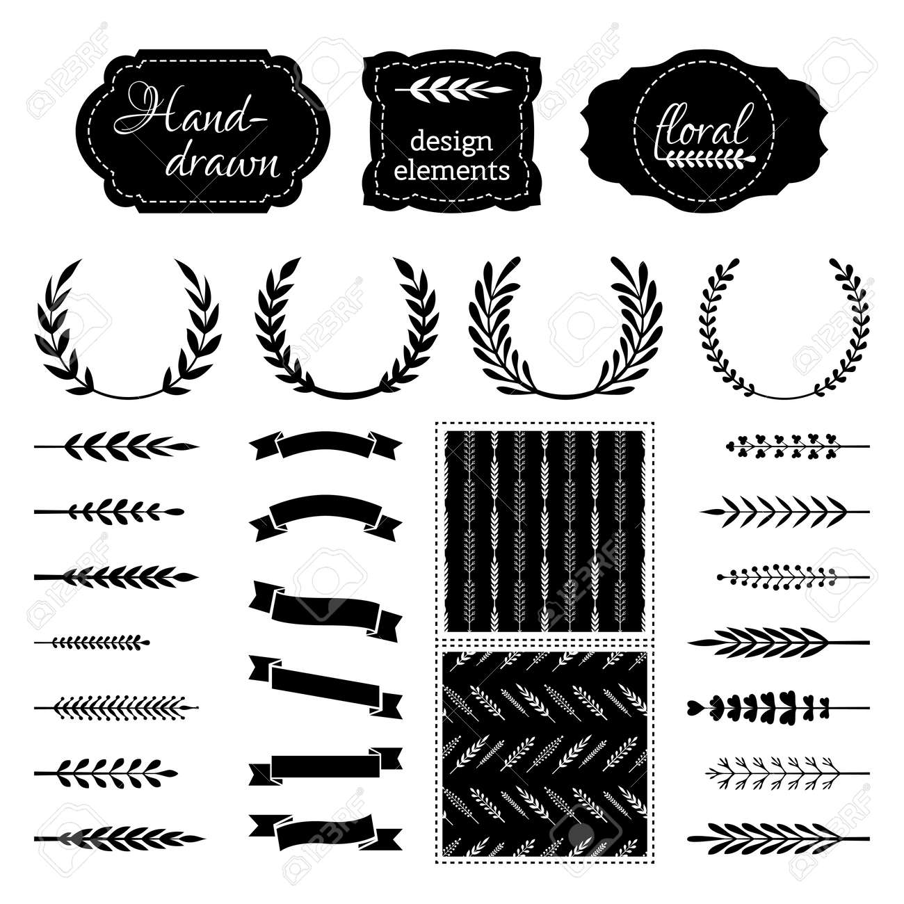 Of Wreaths Set Of Wreaths Branches Ribbons Page Dividers And Seamless