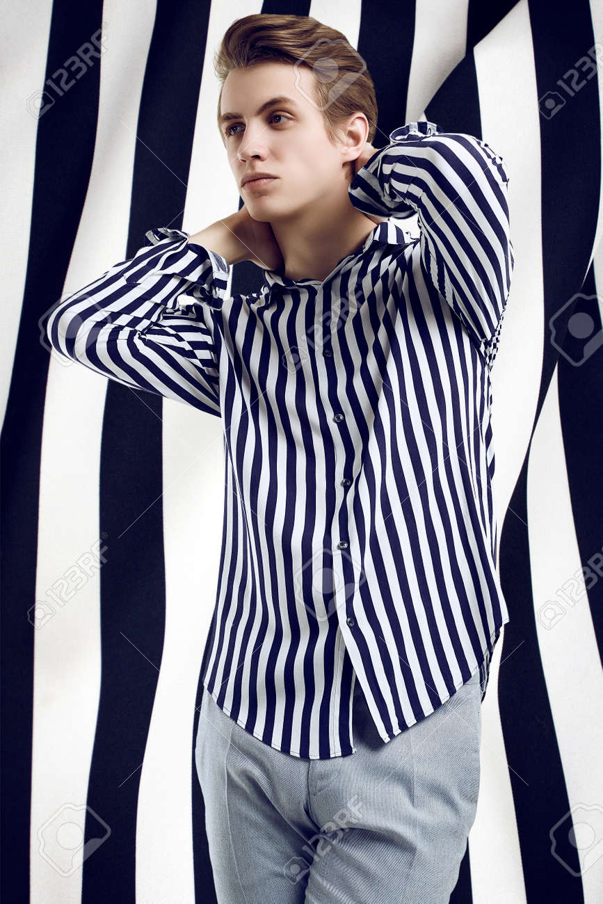 black and white striped shirt male
