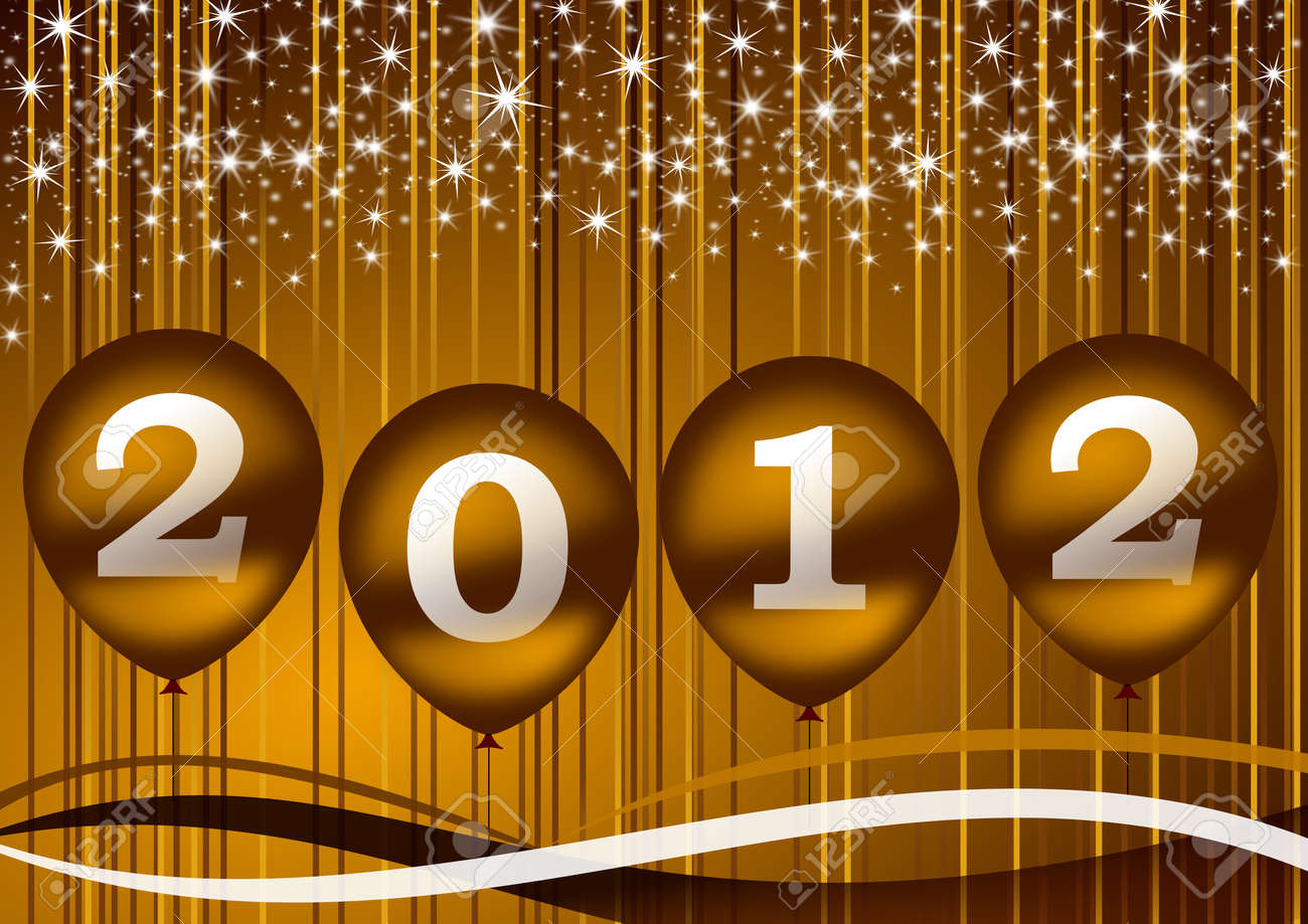 2012 new year illustration with balloons Stock Illustration - 11396667