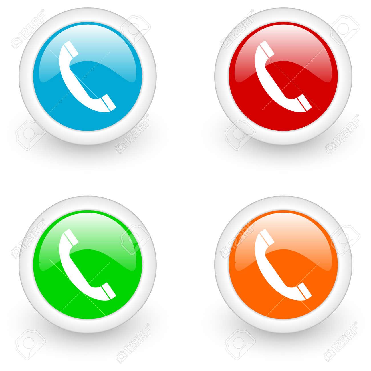 phone glossy icon Stock Photo - 12013282