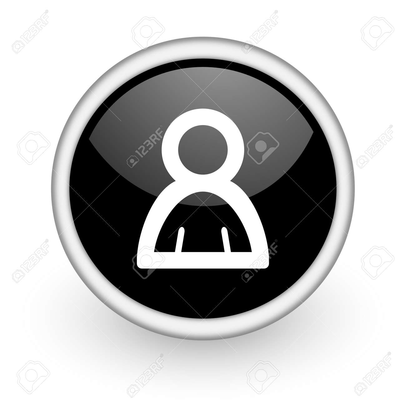 black round icon on white background with shadow Stock Photo - 14358709