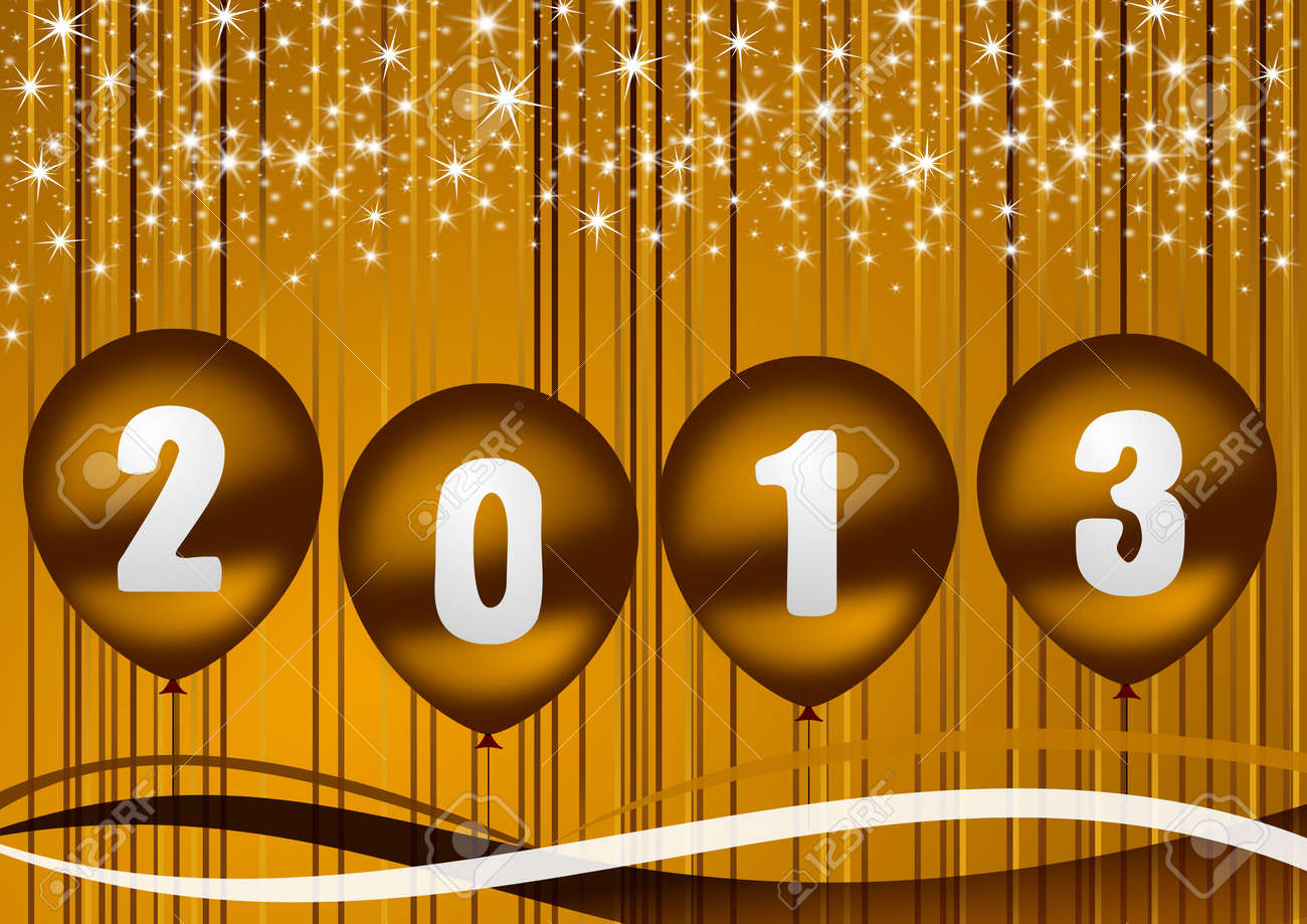 2013 new year illustration with golden balloons Stock Illustration - 14873486