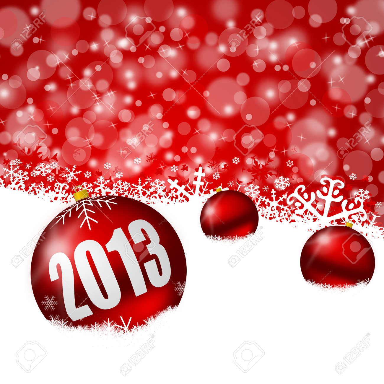 red new years background with snowflakes and christmas balls Stock Photo - 15791127
