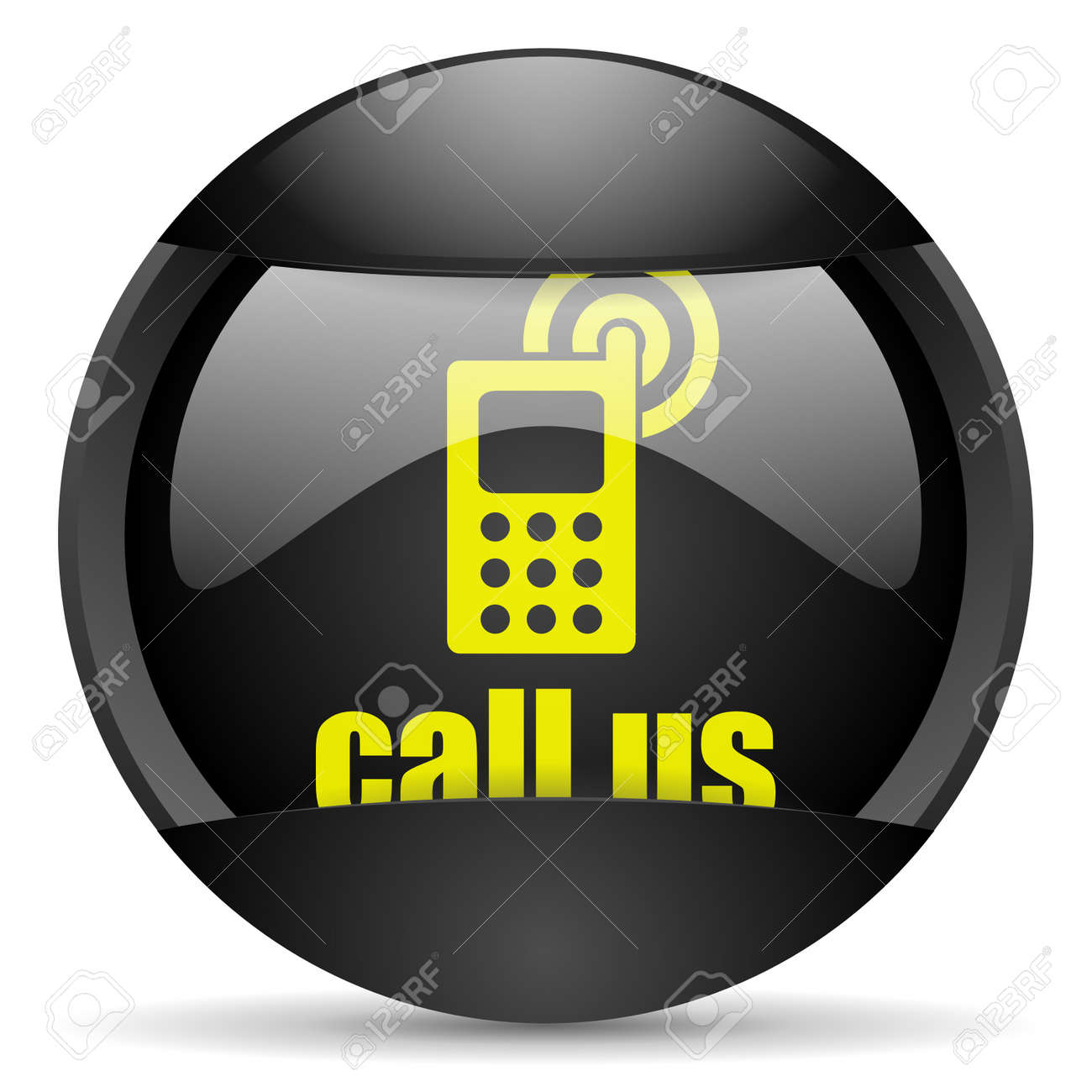 call us round black web icon on white background Stock Photo - 16314987