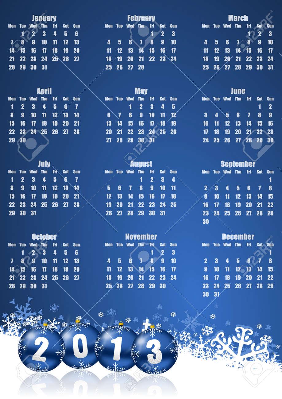 new years 2013 calendar with christmas balls Stock Photo - 16339991