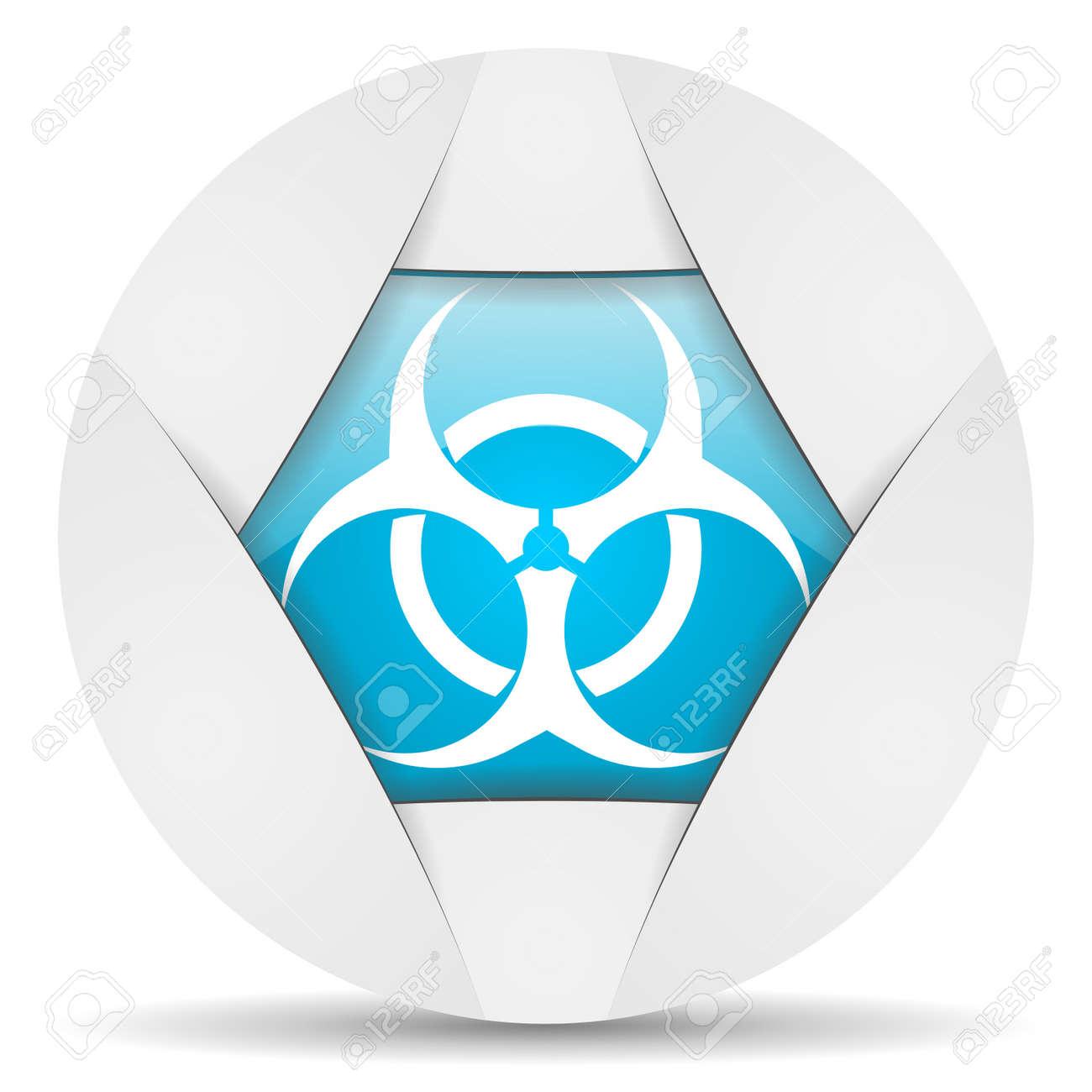 virus round blue web icon on white background Stock Photo - 16340697