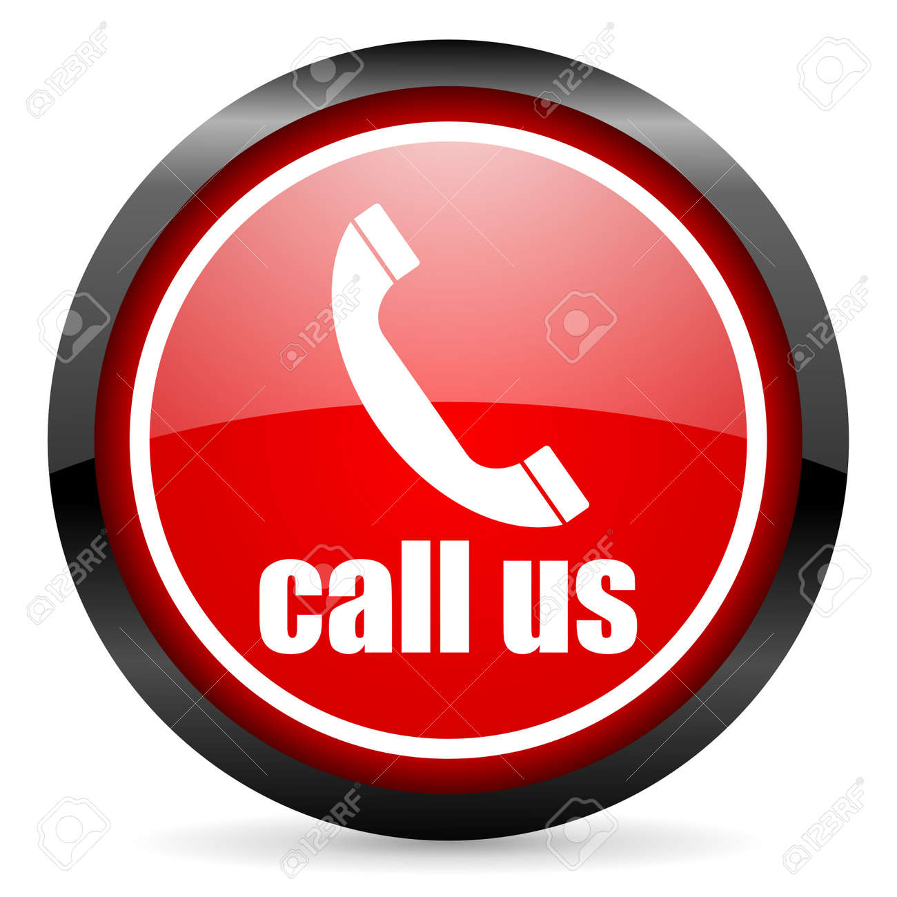 call us round red glossy icon on white background Stock Photo - 16506135