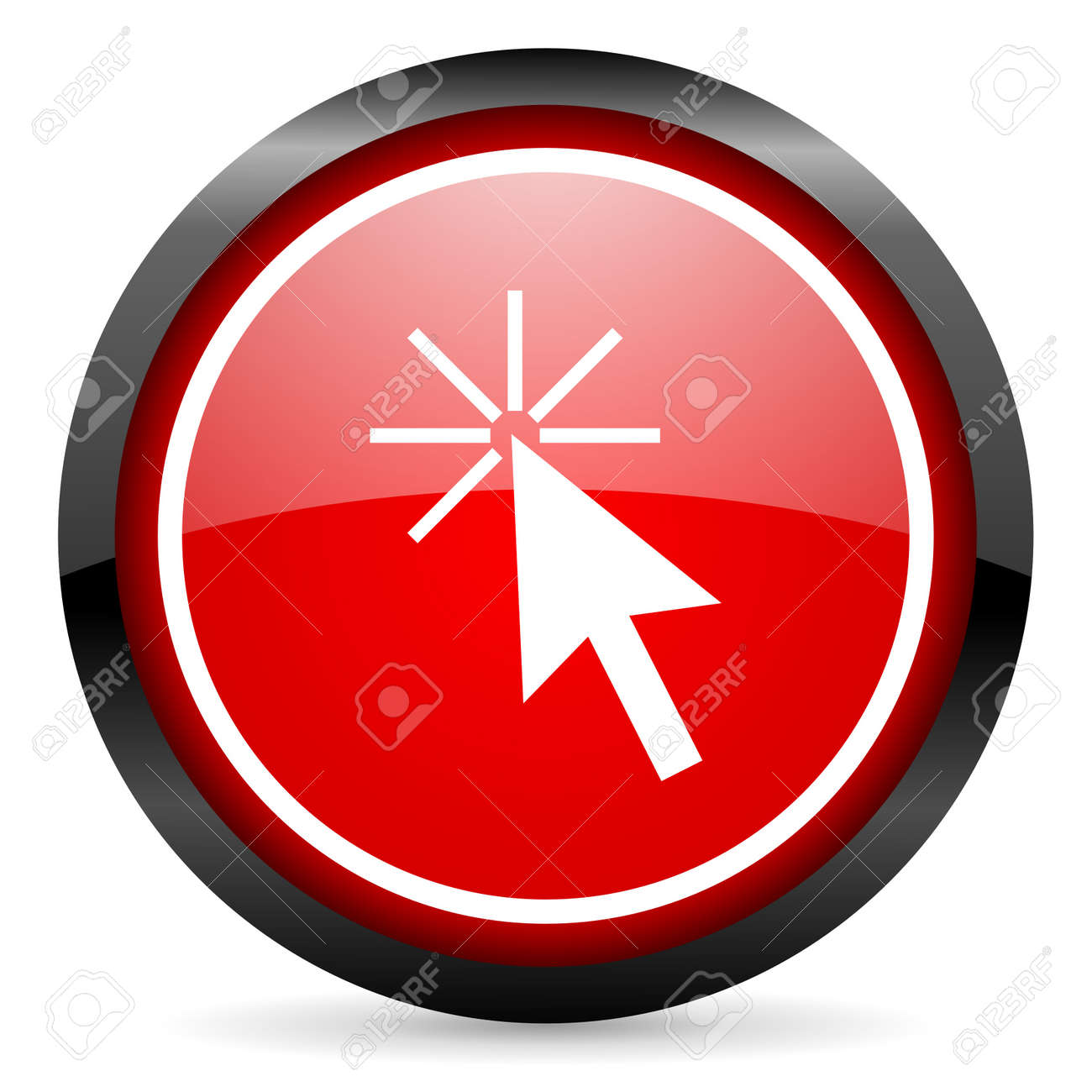 click here round red glossy icon on white background Stock Photo - 16506076