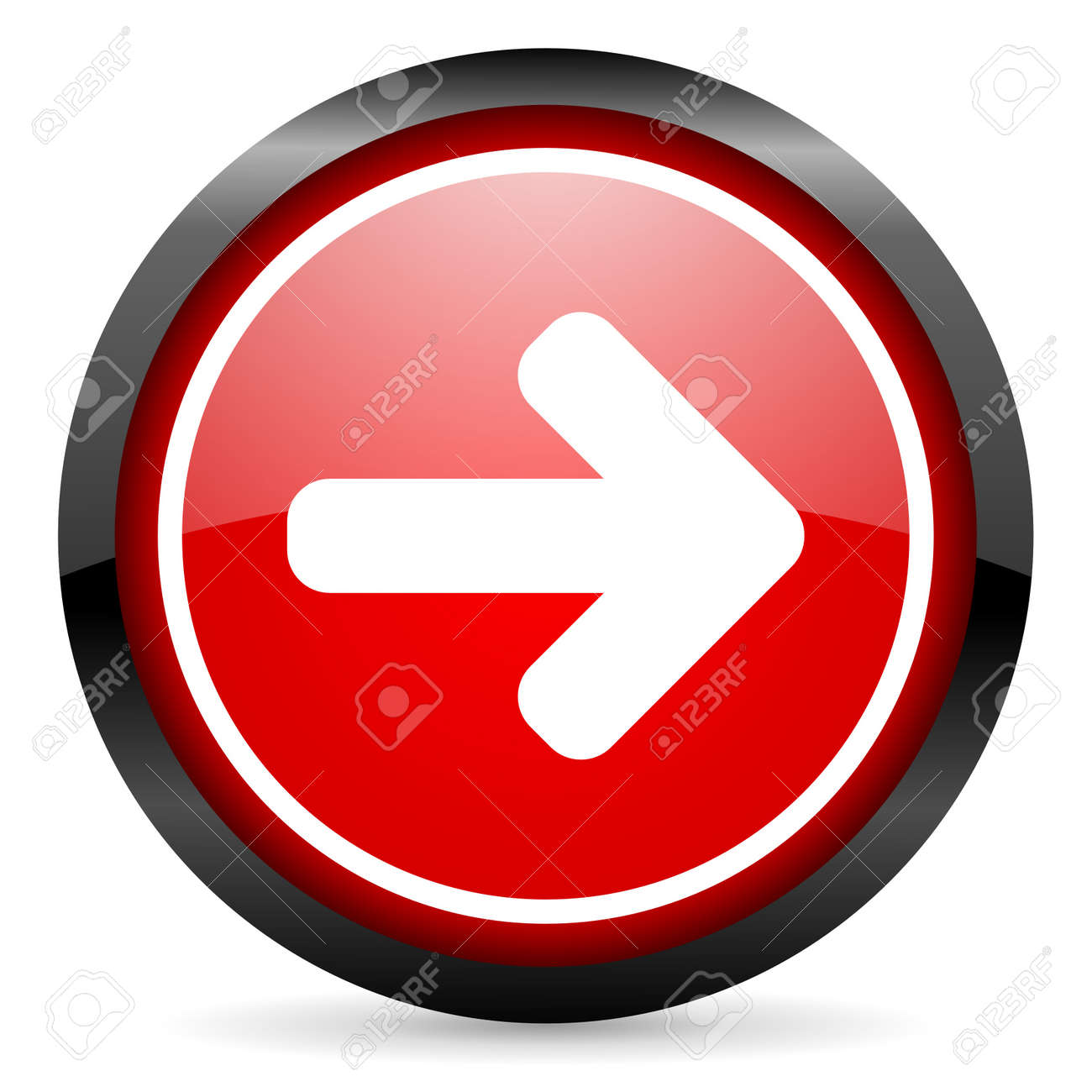 arrow right round red glossy icon on white background Stock Photo - 16505980